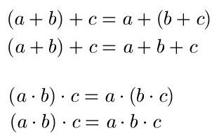Assoziativgesetz, Distributivgesetz und Kommutativgesetz