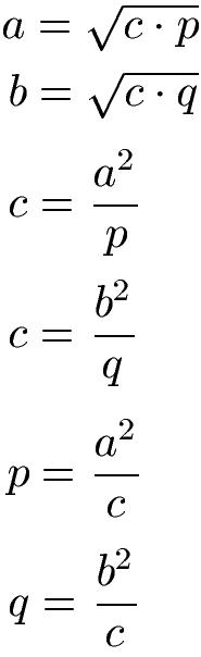 kathetensatz berechnen mit formeln
