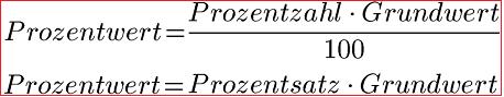 BERECHNUNG PROZENTWERT FORMEL