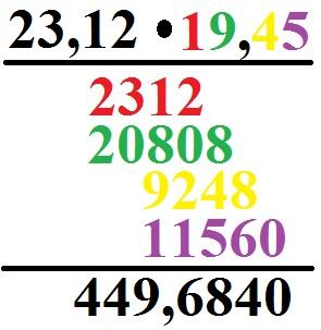 Schriftlich multiplizieren: Komma / Dezimalzahlen
