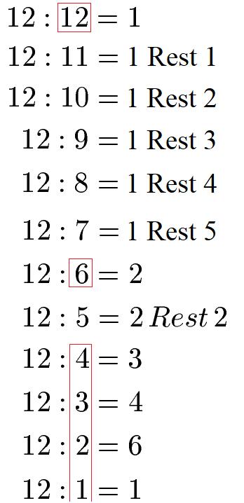 Vielfache / Teiler berechnen